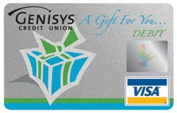 Genisys Credit Union VISA gift cards