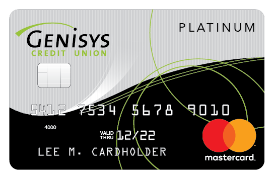 Genisys Credit Union Platinum Mastercard® shown