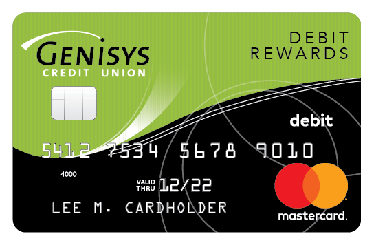 Genisys Credit Union Debit Rewards Mastercard® shown