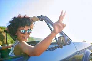 Woman Smiling Inside Car