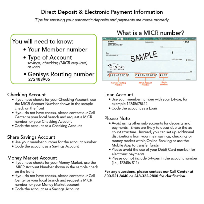 Genisys Credit Union direct deposit services