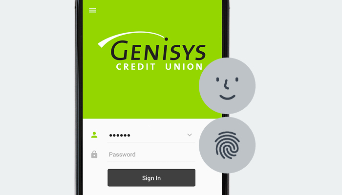 Genisys Credit Union mobile app login screen with touch ID and face recognition icons