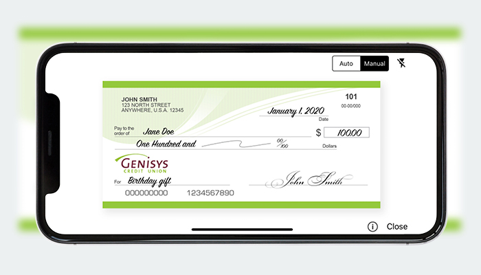 Genisys Credit Union mobile app check deposit screen