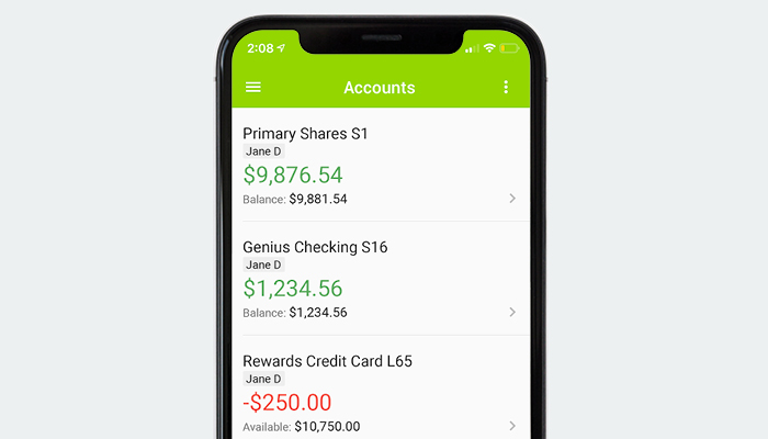 Genisys Credit Union mobile app accounts overview screen