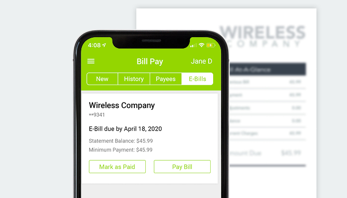 Genisys Credit Union mobile app bill pay screen