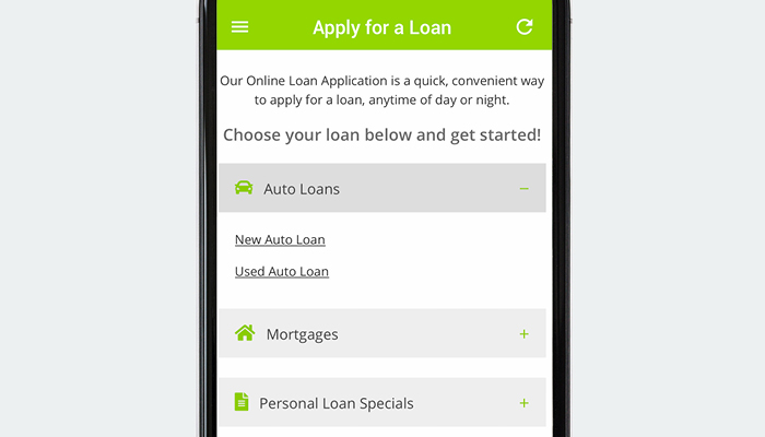 Genisys Credit Union mobile app apply for a loan screen